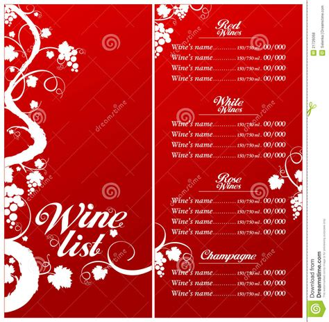 free wine list template wine list menu template royalty free stock photos image