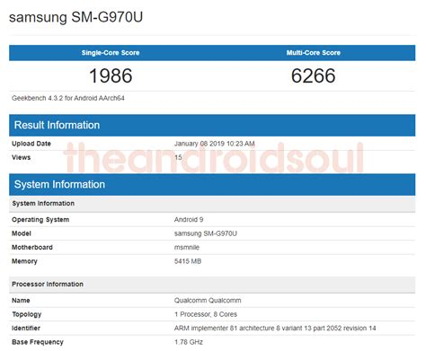 samsung galaxy s10 shows up on geekbench