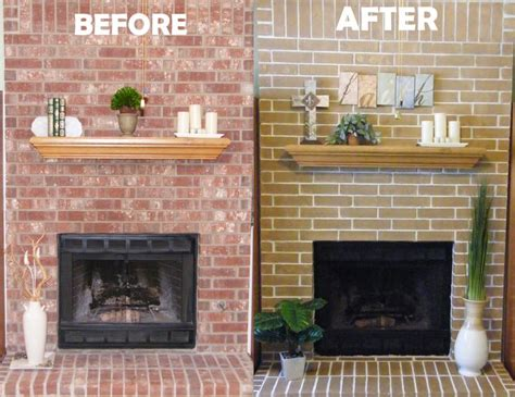 brick fireplace makeover ideas cheap easy fireplace makeover concrete stain got rid of