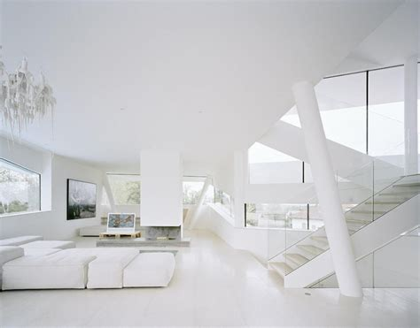 Modern Villa Living Room Spaceship House Detached All White Contemporary Villa