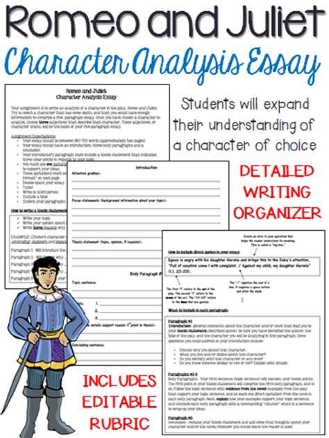 Romeo And Juliet 5 Paragraph Essay by Romeo And Juliet Character Analysis Five Paragraph Essay Activities Students And