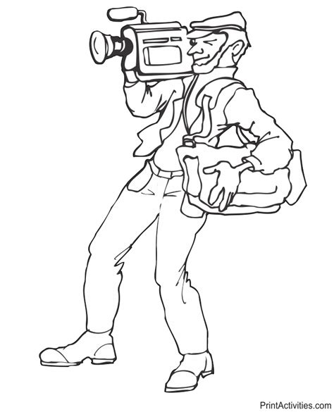 Photographer Coloring Page Cameraman Photo Coloring Page