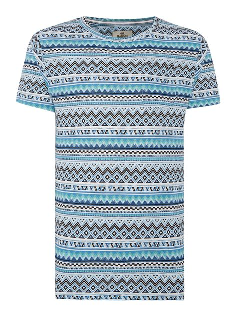aztec pattern t shirt bellfield aztec pattern t shirt in blue for men lyst