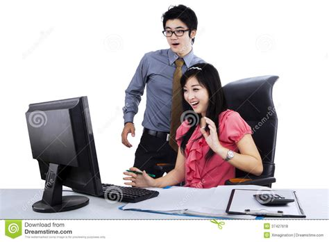 charming Computer Desk For Two #1: surprised-two-business-people-young-computer-desk-37427618.jpg