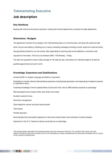 telemarketing description telemarketing executive description
