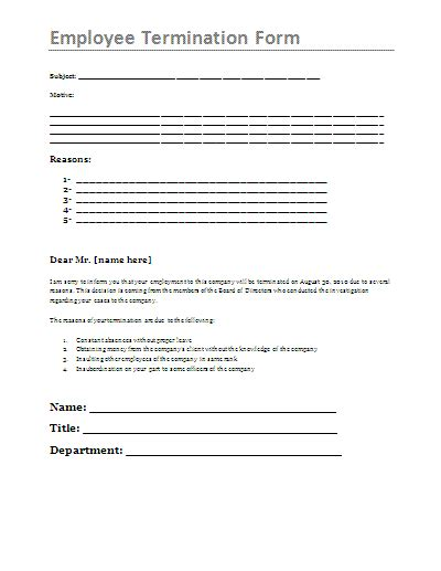 Employee Termination Form Free Printable Documents Termination Form Template