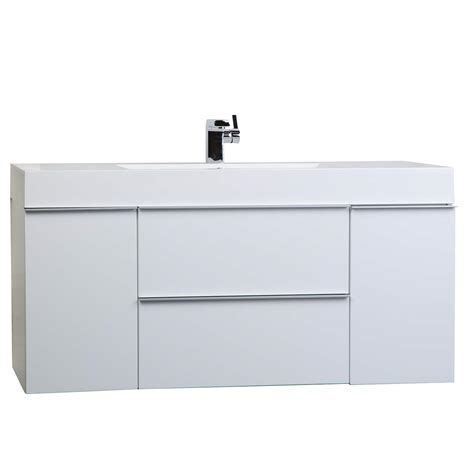 white modern bathroom vanities 47 25 inch wall mount contemporary bathroom vanity glossy