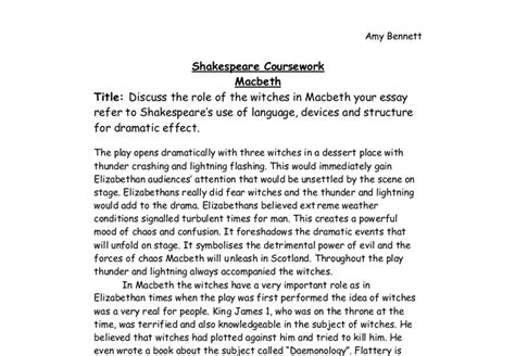 Macbeth Witches Essay by Discuss The Of The Witches In Macbeth Your Essay Refer To Shakespeare S Use Of Language