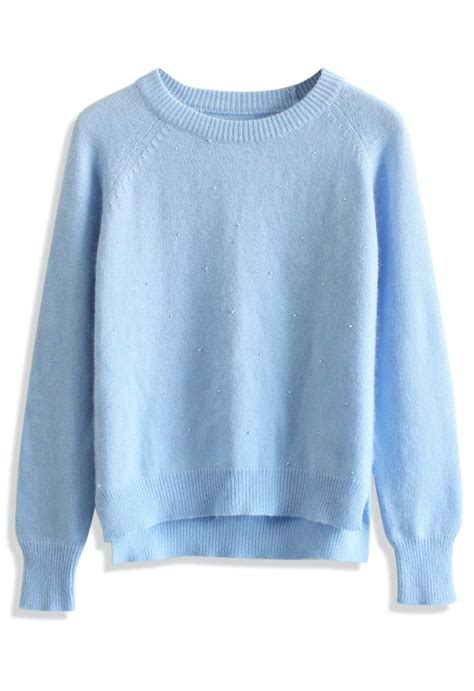Blue Sweater pastel blue pearly angora sweater the fashionable