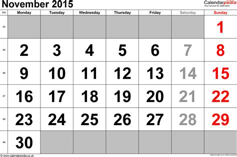 Calendar November 2015 Calendar November 2015 Uk Bank Holidays Excel Pdf Word