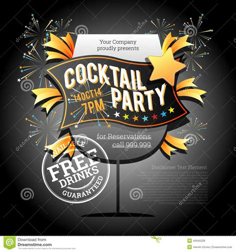 event design elements cocktail party element stock vector image 44045228