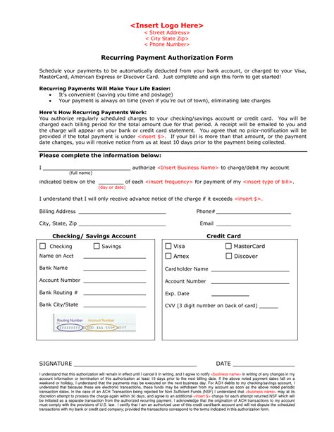 Automatic Credit Card Payment Authorization Form Template by Automatic Payment Letter Bbq Grill Recipes