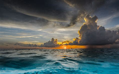 nature landscape sunset clouds sea tropical water