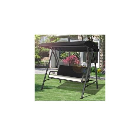 3 seater outdoor swing chair outsunny 3 seater swing chair black rattan garden seat