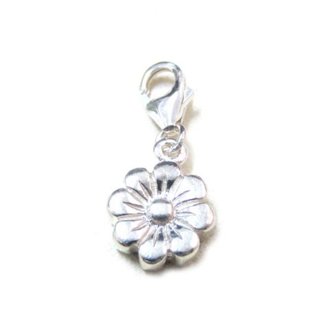 flower sterling silver charm bracelet with lobster clasp