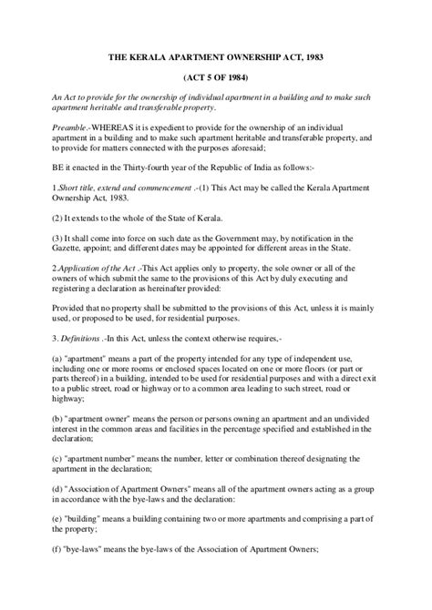 The Kerala Apartment Ownership Act 1983 Fractional Ownership Agreement Template