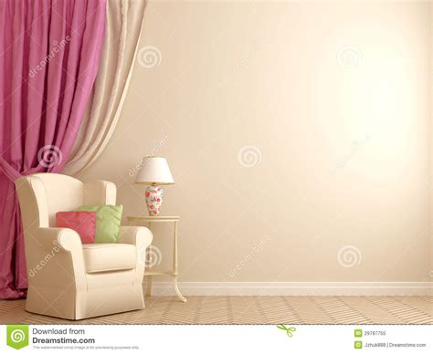 Beige And Pink Curtains Decorating Armchair By The Pink Curtains Royalty Free Stock Photo Image 29787755
