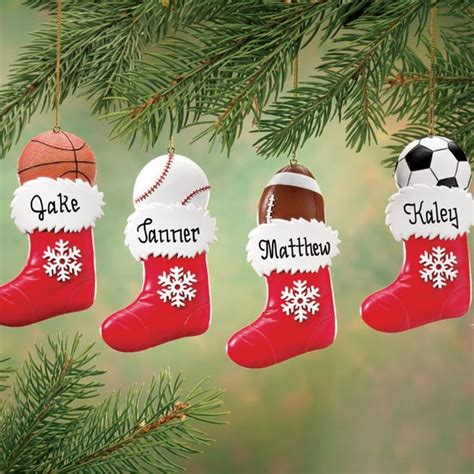 personalized sports stocking ornament christmas miles
