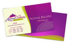 catering business card sle ayannah s catering logo design business card on behance