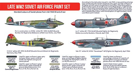 Amig7422 Wwii Soviet Airplanes Green Black Camouflages late ww2 soviet air paint set hataka