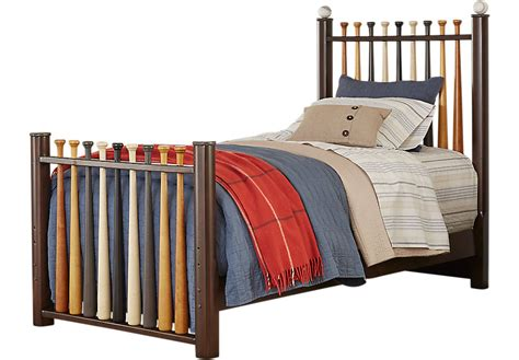 baseball bed batter up cherry 2 pc twin baseball bed twin beds dark wood