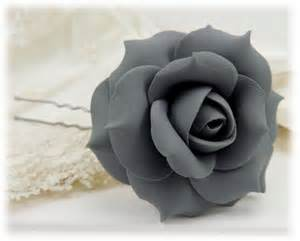 Red Flower Hair Accessories - gray rose hair pins gray rose hair clips