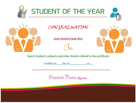 student of the year certificate template employee of the month clip free