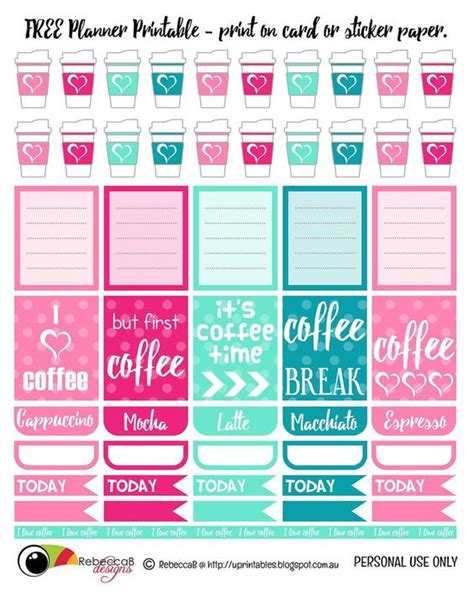 printable planner with dates free printable planner stickers coffee print these