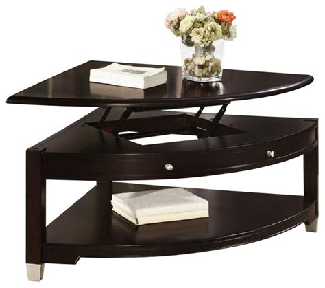 coaster liberty pie shaped lift top cocktail table in