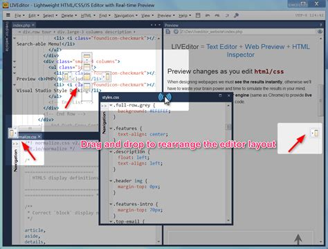 editor layout html css painless website authoring with liveditor the text