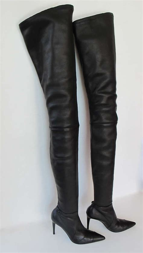 thigh high boots chanel black lambskin leather thigh high boots at 1stdibs
