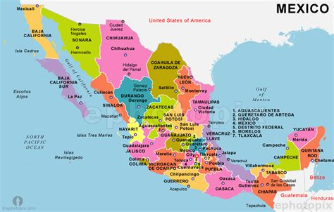 map united states and mexico simply