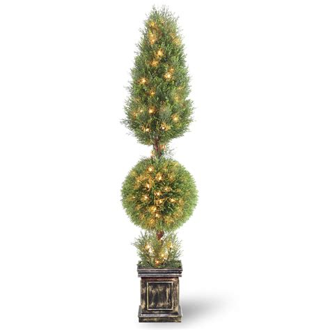 National Tree Company 60 Quot Lighted Juniper Cone And Ball Lighted Topiary Outdoor