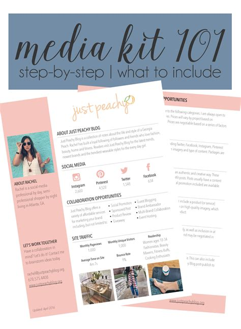 Blog Tips Media Kit Just Peachy Blog Media Kit Template Powerpoint