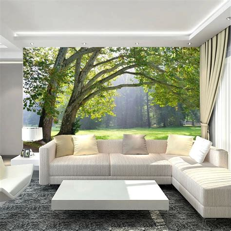 photo wall murals wallpaper 3d wallpaper mural green three forest scenery photo wall paper background tv ebay