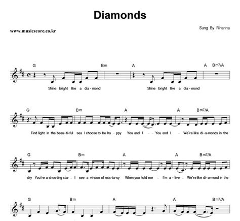 guitar tutorial diamonds rihanna rihanna diamonds 악보 뮤직스코어 악보가게