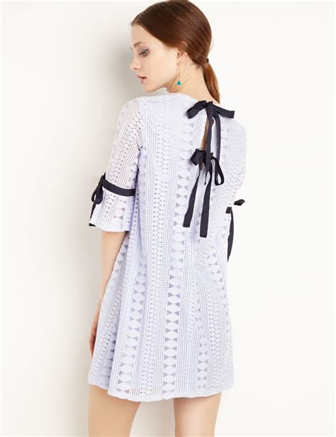 Dress Ribbon 4 blue lace ribbon tie dress