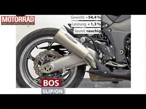 Motorrad Auspuff Slip On by Bos Slip On Kawasaki Z1000 Auspuff Youtube