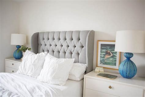 Pinned Headboard by Bedroom Gray Velvet Tufted Wingback Headboard With White Pin Tuck Duvet And Photo Of