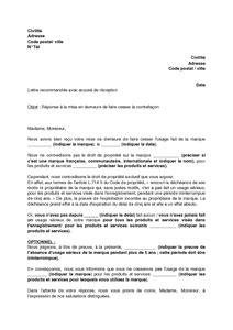 Exemple Lettre De Mise En Demeure Loyer lettre de r 233 ponse 224 une mise en demeure de cesser l usage