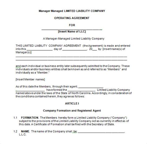 operating agreement template for llc llc operating agreement 8 free documents in