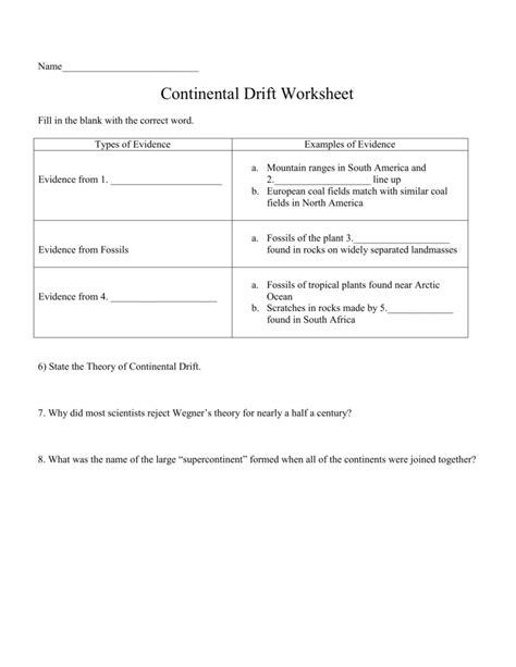 continental drift worksheet