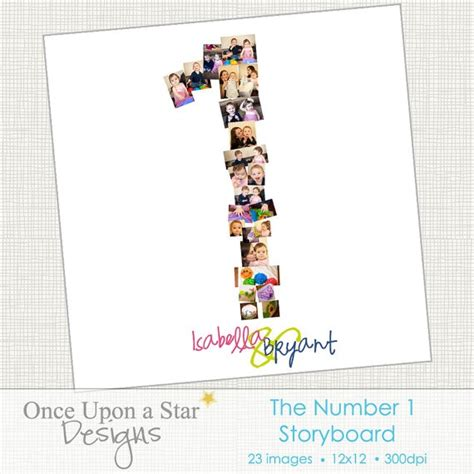 number 1 collage template invitation templates