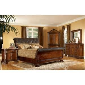 King Size Bedroom Sets King Size 4 Wood Leather Sleigh Bedroom Set By A R T Furniture