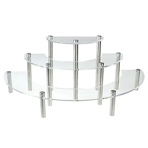 table top display shelves clear acrylic 3 tier half moon shelf unit table top