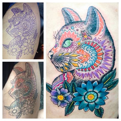 my louis wain inspired cat memorial tat done by sole del
