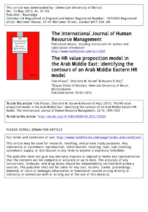 Mba Hr In Middle East by The Hr Value Proposition Model In The Pdf