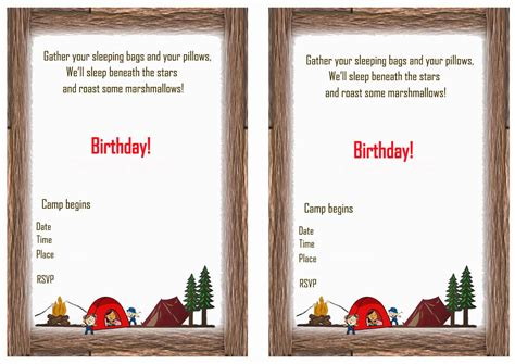 camping printable birthday invitations