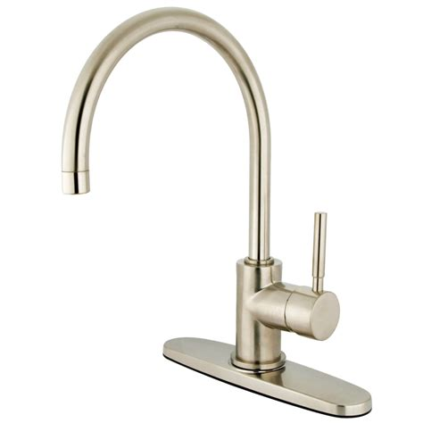 satin nickel kitchen faucet kingston brass ks8718dlls concord 8 quot centerset kitchen
