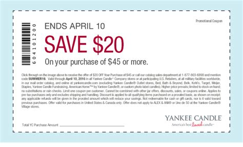 yankee candle coupons 15 off 45 printable yankee candle 20 off 45 purchase printable coupon